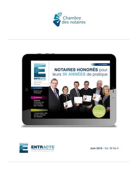 """Couverture du magazine """"Notaires honorés pour leurs 35 années de pratique"""""""