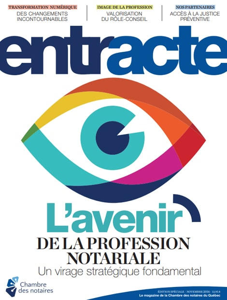 "Couverture du magazine ""L'avenir de la profession notariale : un virage stratégique fondamental"""