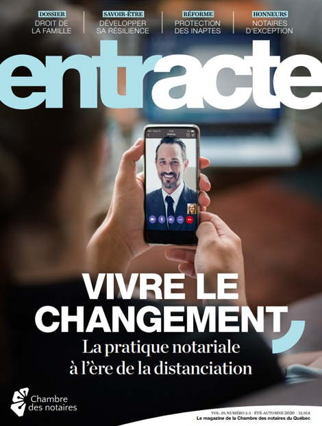 "Magazine cover of ""Vivre le changement : La pratique notariale à l'ère de la distanciation"""