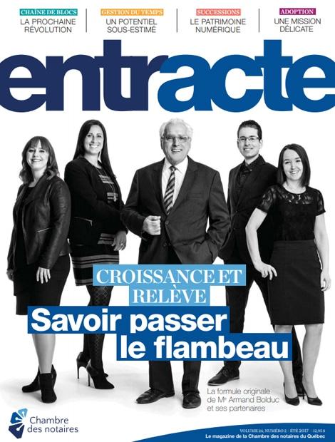 """Magazine cover of """"Croissance et relève : Savoir passer le flambeau"""""""